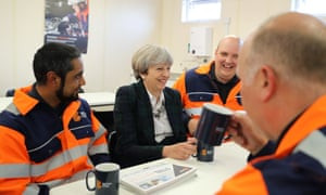 Theresa May Visits British Steel On The Campaign TrailSCUNTHORPE, ENGLAND - MAY 10: British Prime Minister Theresa May talks to staff in a tea room at British Steel as she campaigns in North Lincolnshire on May 10, 2017 in Scunthorpe, England. Campaigning is underway ahead of the general election which is to be held on June 8. (Photo by Dan Kitwood - WPA Pool/Getty Images)