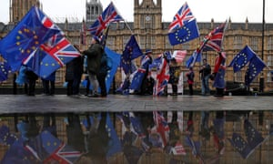 An anti-Brexit protest outside UK parliament.