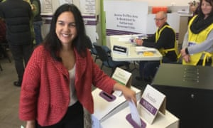 Labor senator Lisa Singh votes on 2 July in Hobart. She has been re-elected with a strong below-the-line vote.