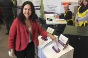Labor senator Lisa Singh casts her vote in Hobart, Saturday, July 2, 2016.
