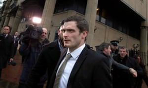 Adam Johnson leaves Bradford crown court on Wednesday.