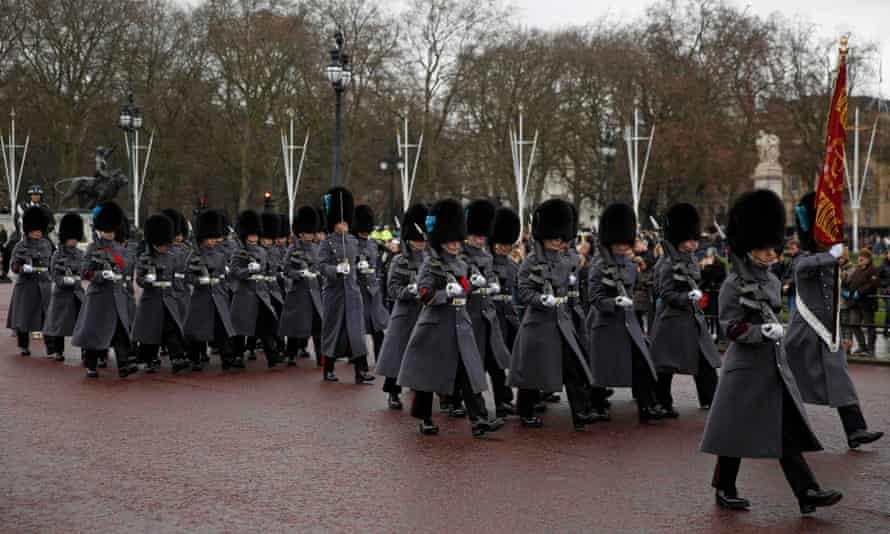 Members of the Irish Guards take part in the ceremony.