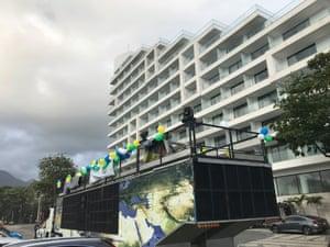 A stage set up near Bolsonaro's home
