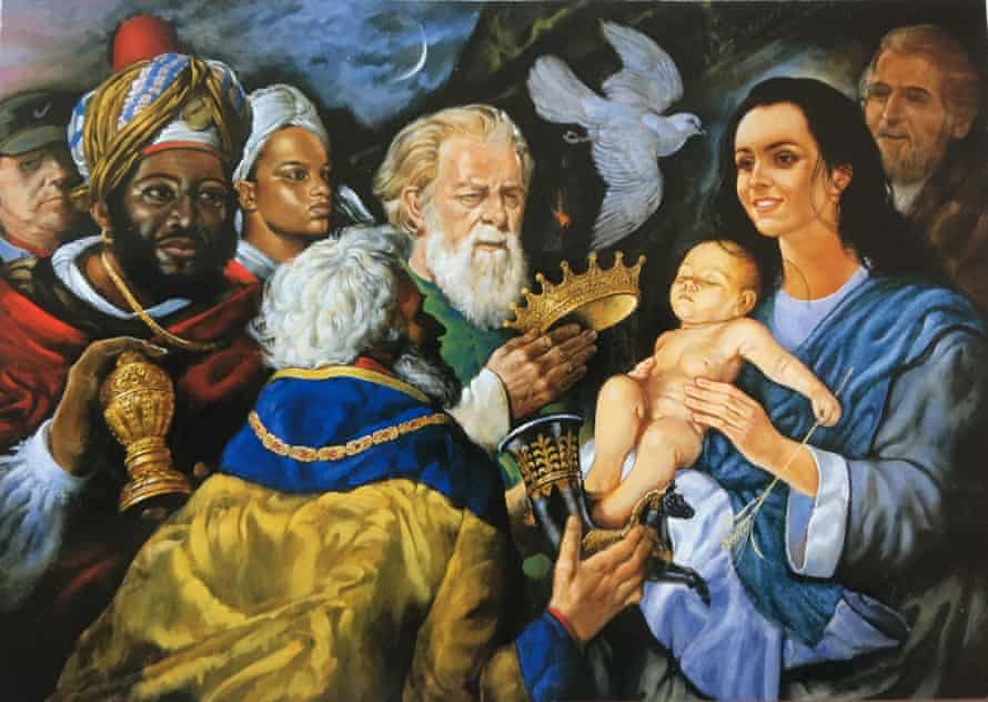 Adoration of the Magi, 2000, an oil painting by John Barber, which features the artist on the far left