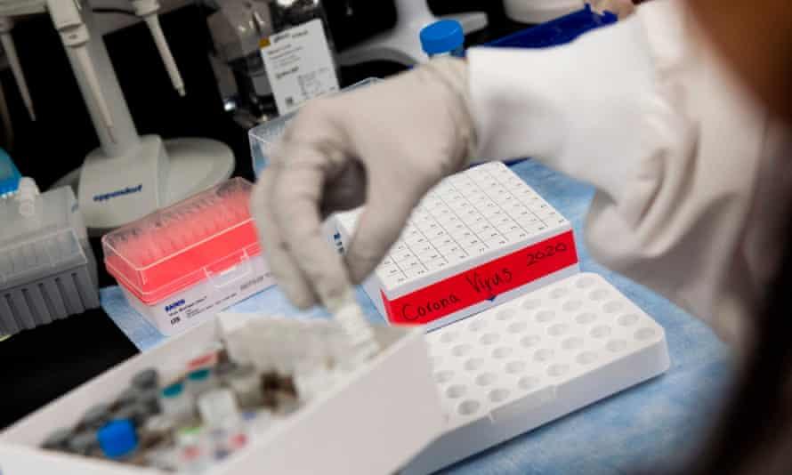 A US researcher working on a coronavirus vaccine.