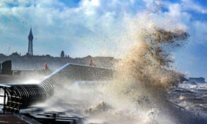 Very rough coastal weather at Cleveleys near Blackpool, Lancashire