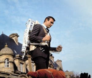 Making a getaway with Q's jetpack in Thunderball, 1965