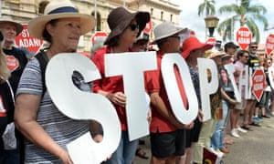 Anti-Adani protesters in Brisbane