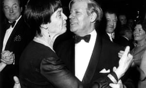 Helmut Schmidt dancing with his wife Loki at a ball in Berlin in January 1977.