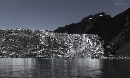To the end of the Earth … Aialik Glacier in Alaska, covered in foil after being contaminated in the Exxon Valdez disaster, from the series Light by Michel Comte.