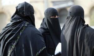 Women wearing full-face veils in Dewsbury, Yorkshire