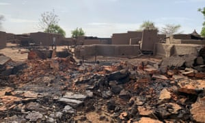 Damage at the site of a previous attack on the Dogon village of Sobane Da in Mali on 11 June 2019.