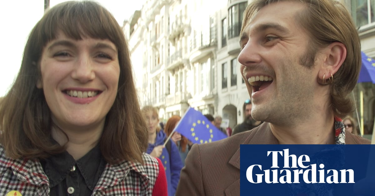 On the ground with People's Vote marchers: 'It's not done by a long way' – video