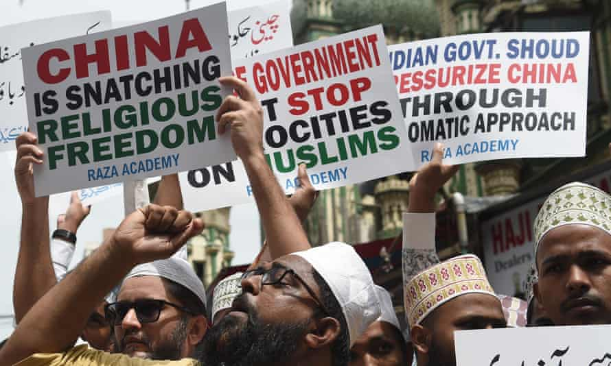 A protest against the Chinese government's detention of Muslim minorities