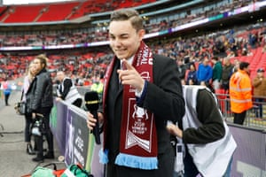 Jack Sullivan, the young director of West Ham Women, before going on TV.