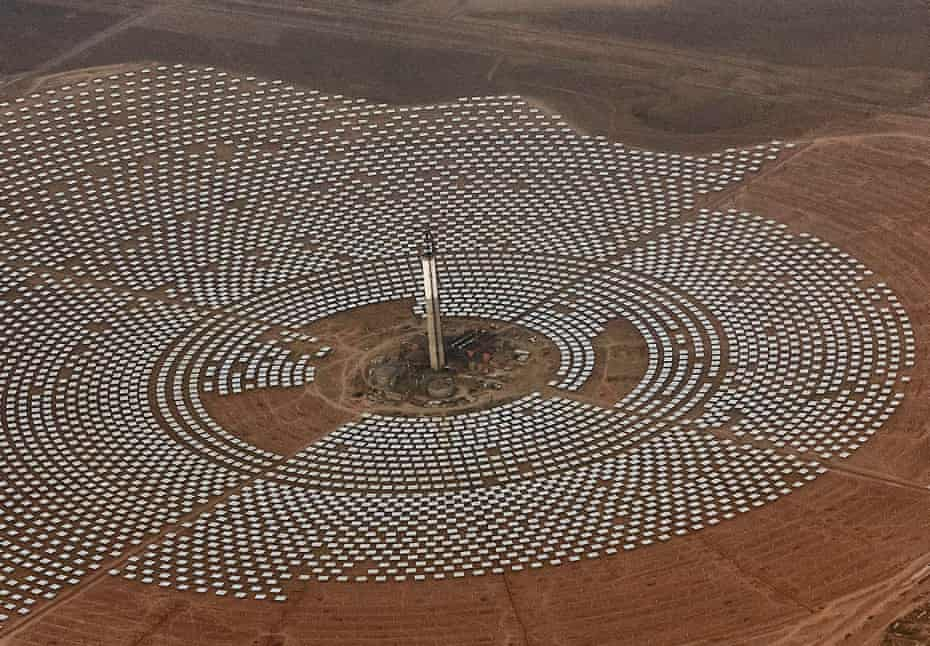 Aerial view of the Noor 3 solar power station which is nearing completion, near Ouarzazate, southern Morocco in 2017.