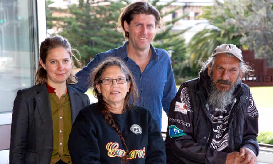 Gomeroi custodian Dolly Talbott (middle) and her brother Steve, with their legal team, Environmental Defenders Office lawyers Nadja Zimmermann and Brendan Dobbie.