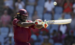 West Indies' Chris Gayle thwacks the ball during his innings of 77.