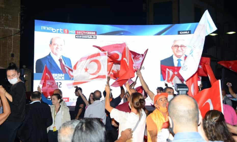 People celebrate in Nicosia