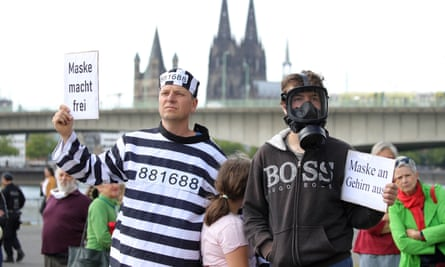 Protesters gather to demonstrate against lockdown measures in Cologne in May