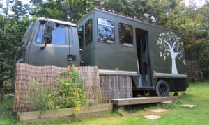 Matilda, the converted truck Kevin stayed in on the Ffynnon Samson glampsite south of the Preseli hills.