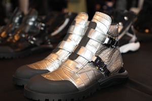 Metallic ankle boots.