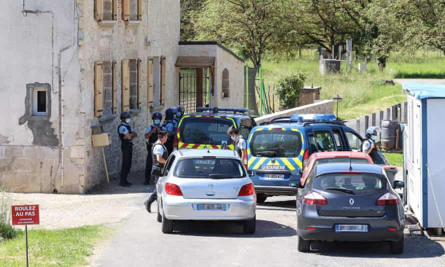 French gendarmes check vehicles