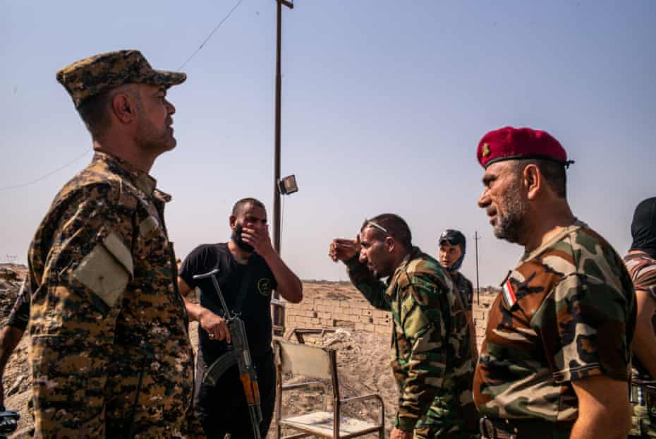 Shia militia commanders on the frontlines with Isis near Falluja, August 2015.