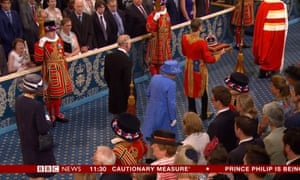 The Queen in the royal gallery of the Lords.
