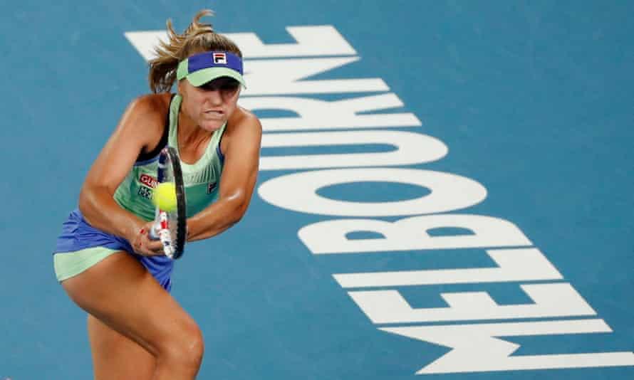 Sofia Kenin in action during her 2020 Australian Open final against Garbine Muguruza