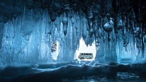 Spirit of Travel runner-up, Peter Racz (Hungary)'There are many ice caves on the shore of Lake Baikal, Siberia, Russia, and I took this picture from inside one of them. I was lying on the ice, trying to frame the vehicle perfectly in the gap in the ice. The cave looks far bigger in the image due to the use of the wideangle lens.'