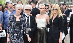 Karl Lagerfeld flanked by Katy Perry, Cara Delevingne and Claudia Schiffer at the Chanel haute couture show in Paris.