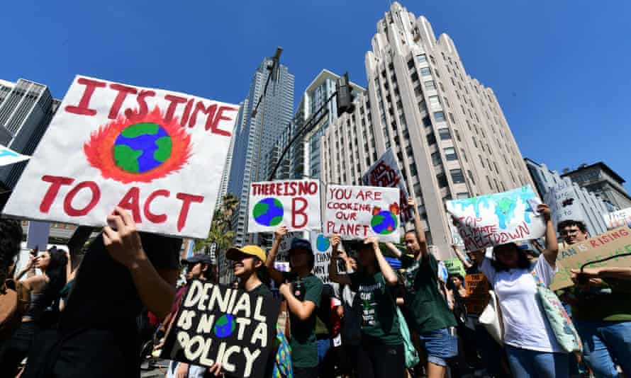 Thousands of youth demand action as part of a global climate strike in Los Angeles on Friday.