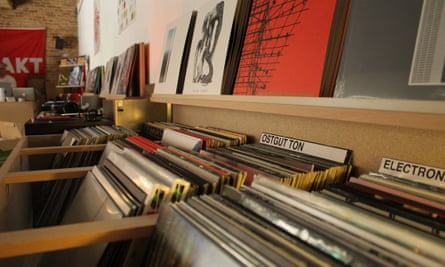 A close up photograph of vinyl in racks at Kompakt Records, Cologne, Germany