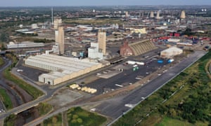 An aerial view of CF Industries fertiliser plant in Stockton-on-Tees, northeast England, which produces CO2 as a by-product, but stopped work last week as a result of the sudden hike in wholesale gas prices.