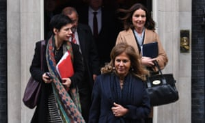 The BusinessEurope president, Emma Marcegaglia, (front) and the CBI director general, Carolyn Fairbairn, (back right) leaving 10 Downing Street