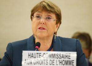 Michelle Bachelet speaking today at a session of the Human Rights Council at the UN in Geneva