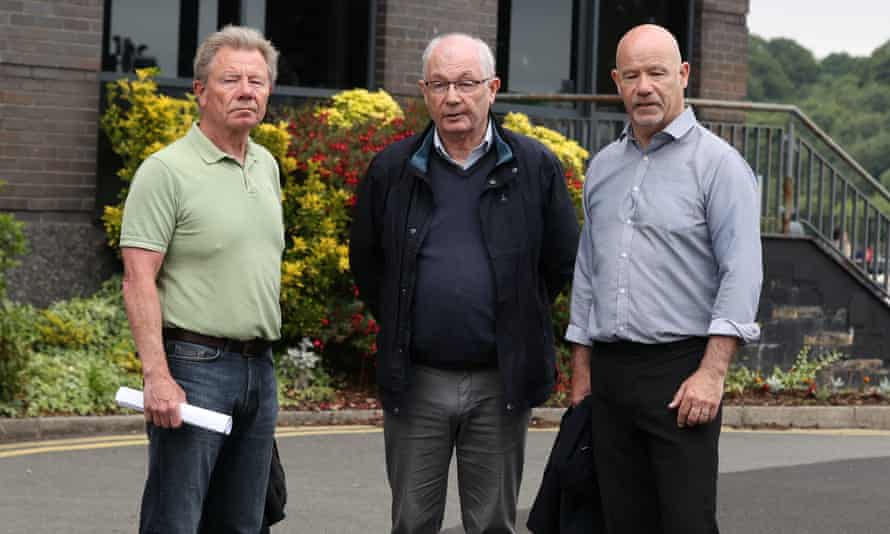 From left, Joe, Mickey and John McKinney, the brothers of the Bloody Sunday victim William McKinney, after their meeting with prosecutors.