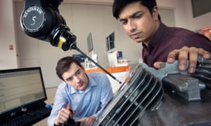 Guardian - City. - Apprentices at the Gloucestershire metrology company Renishaw PLC. Software Engineer Mohammed Choudhury (right) operating a Revo-2 probe with Embedded Engineer Peter UnderwoodPics - Adrian Sherratt - 07976 237651 Guardian - City. - Apprentices at the Gloucestershire metrology company Renishaw PLC. Software Engineer Mohammed Choudhury (right) operating a Revo-2 probe with Embedded Engineer Peter Underwood (23 March 2017).