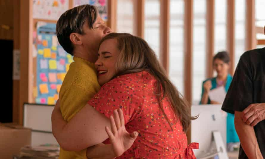 'Neither cheesy nor whimsical' ... Gabe (John Cameron Mitchell) and Annie (Aidy Bryant) in Shrill.