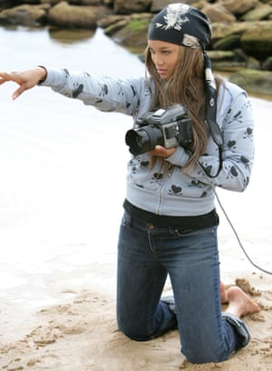 Tyra Banks on location for America's Next Top Model in 2003