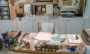 Desk and utensils used by Yves Saint Laurent.