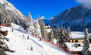 Skiiers on the slopes at Villars, Switzerland.