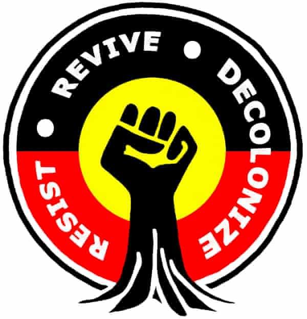 resist-revivie-decolonize logo for Australian Aboriginal sovereignty