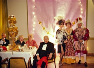 Wealthy Floridians in costume at the Bal des Arts, an annual costume party at the Breakers Hotel in Palm Beach. The charity gala raises money for the Norton Art Gallery. The Breakers is an opulent hotel that is a center for high society events attended by the wealthy and affluent. (1981)