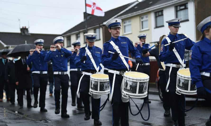 Members of the Sir Robert Bateson Memorial Society marching band parade in Lisburn