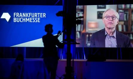 David Grossman addresses the opening of the 2020 Frankfurt Book Fair via videolink to Israel.