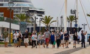 Tourists sightseeing in Cartagena, Mallorca last weekend.
