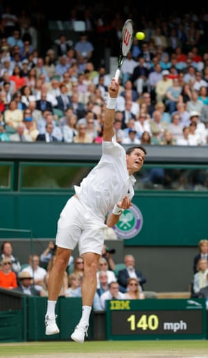 Milos Raonic fires off another big serve.
