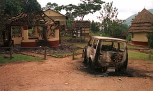 March 2, 1999 picture taken shortly after eight tourists were killed, shows Bwindi camp at border of Uganda and Democratic Republic of Congo.